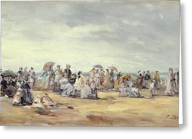 Parasols Greeting Cards - The Beach At Trouville, 1873 Greeting Card by Eugene Louis Boudin