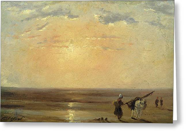 The Beach At Trouville With Setting Sun Greeting Card by Paul Huet
