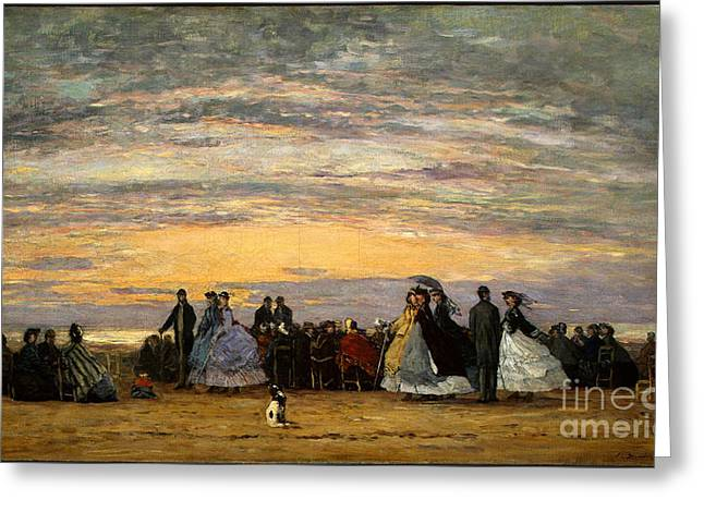 York Beach Paintings Greeting Cards - The Beach at Villerville Greeting Card by Eugene Boudin