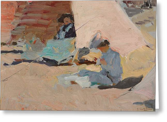 The Beach  Biarritz Greeting Card by Joaquin Sorolla y Bastida