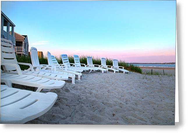 The Beach Chairs Greeting Card by Betsy Knapp