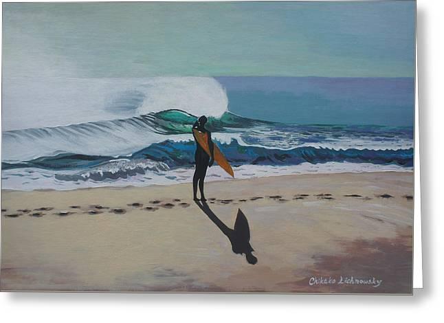 Chikako Hashimoto Lichnowsky Greeting Cards - The beach Greeting Card by Chikako Hashimoto Lichnowsky