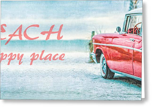 Sofa Art Greeting Cards - The Beach is my happy place Greeting Card by Edward Fielding