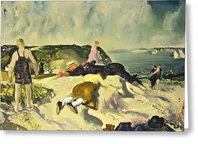 Apparel Greeting Cards - The Beach Newport Greeting Card by George Wesley Bellows