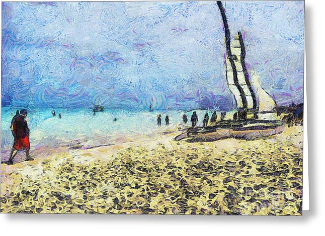 Blue Sailboats Greeting Cards - The beach of Cuba Greeting Card by Odon Czintos
