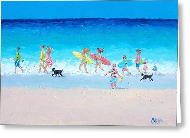 Beach Cottage Style Greeting Cards - The Beach Parade Greeting Card by Jan Matson