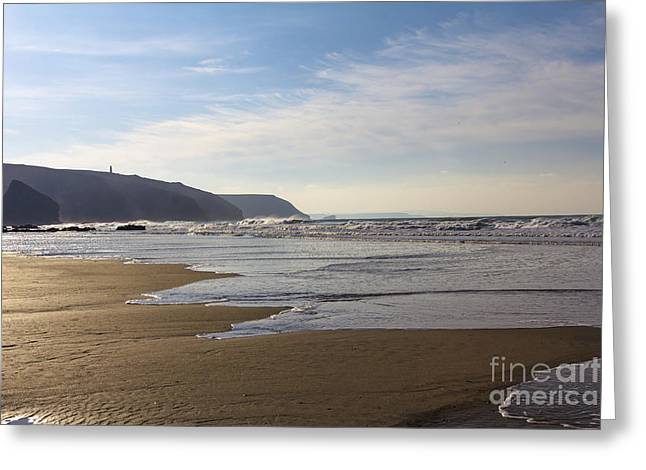 Kernow Greeting Cards - The Beach Porthtowan Greeting Card by Brian Roscorla