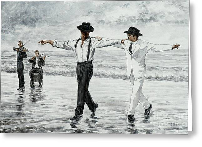 Film Noir Paintings Greeting Cards - The Beach Quartet Greeting Card by Theo Michael
