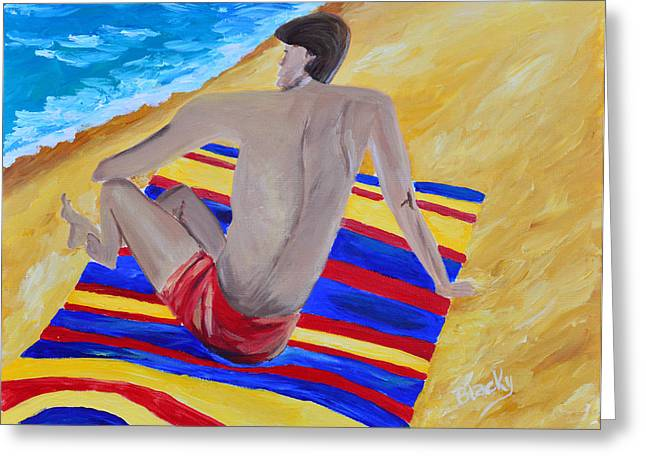 Beach Towel Paintings Greeting Cards - The Beach Towel Greeting Card by Donna Blackhall