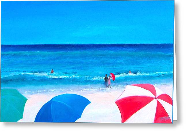 Beach Themed Greeting Cards - The Beach Umbrellas Greeting Card by Jan Matson