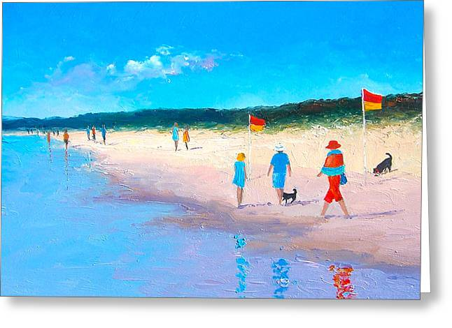The Beach Walkers Greeting Card by Jan Matson