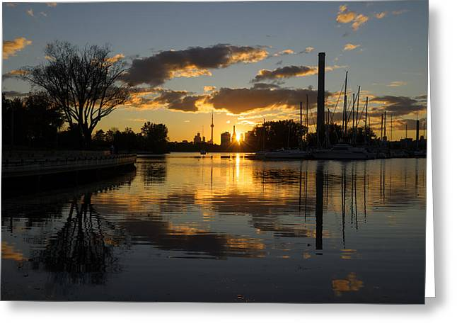 Yellow Sailboats Greeting Cards - The Beaches Marina at Sunset Greeting Card by Georgia Mizuleva
