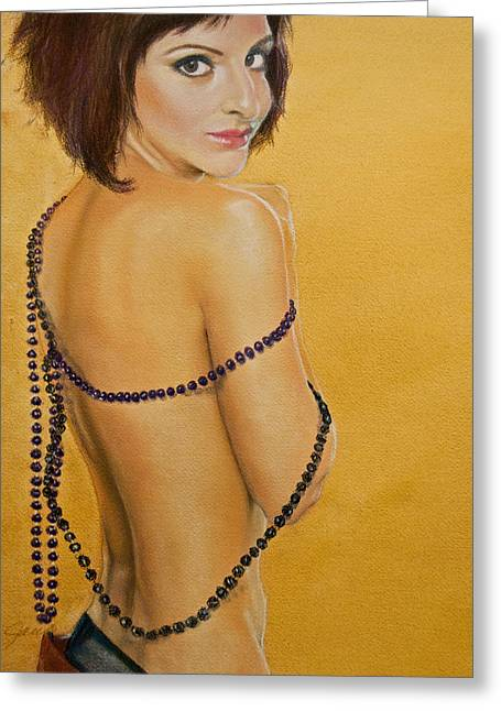Pin Up Pastels Greeting Cards - The Beaded Shawl Greeting Card by Jani Freimann