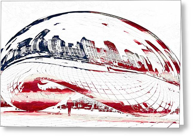 Us Capital Mixed Media Greeting Cards - The Bean - American Icon Greeting Card by Celestial Images