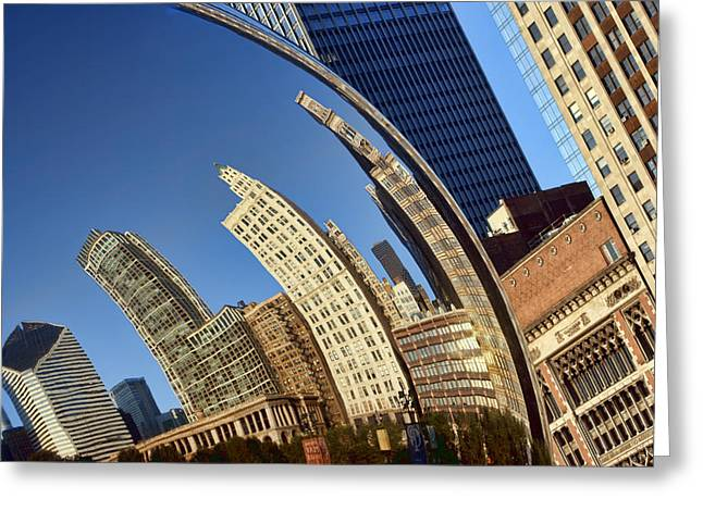 The Bean Greeting Cards - The Bean #1 - Cloud Gate - Chicago Greeting Card by Nikolyn McDonald