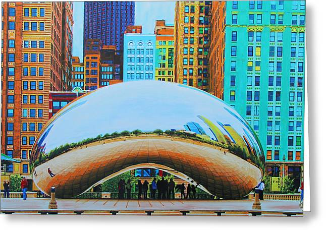 Windy City Mixed Media Greeting Cards - The Bean At Milly Park Greeting Card by Deborah Boyd