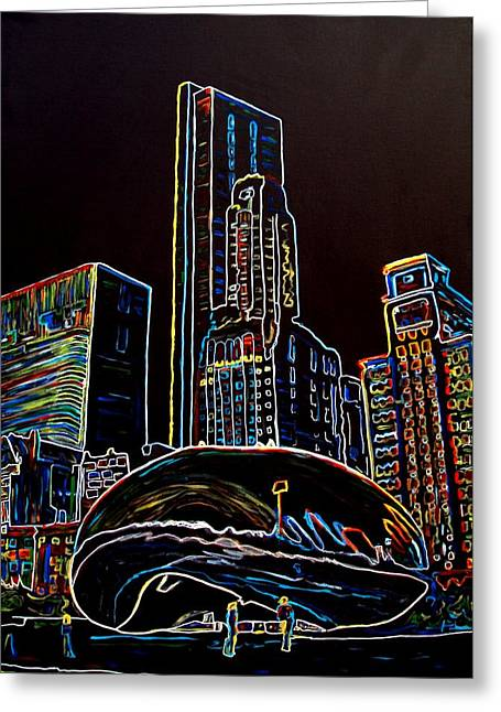 The Bean Greeting Cards - The Bean-Chicago Greeting Card by Bryan Dubreuiel