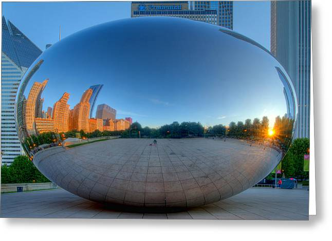 The Bean Greeting Cards - The Bean in Chicago Greeting Card by Lindley Johnson