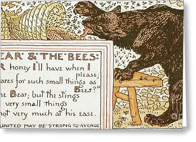 Moral Drawings Greeting Cards - The Bear and The Bees Greeting Card by Pg Reproductions
