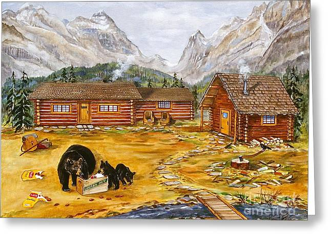 Canmore Artist Greeting Cards - The Bear Greeting Card by Virginia Ann Hemingson