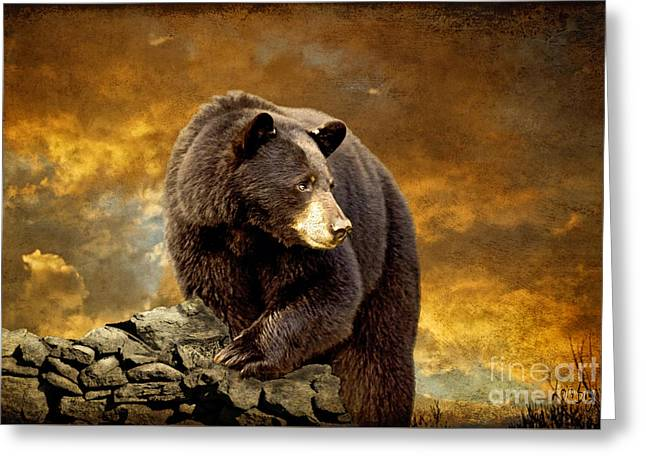 The Bear Went Over The Mountain Greeting Card by Lois Bryan