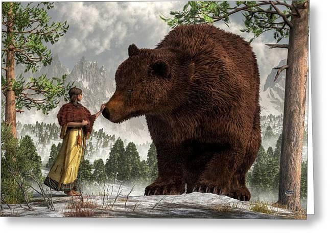 The Bear Woman Greeting Card by Daniel Eskridge