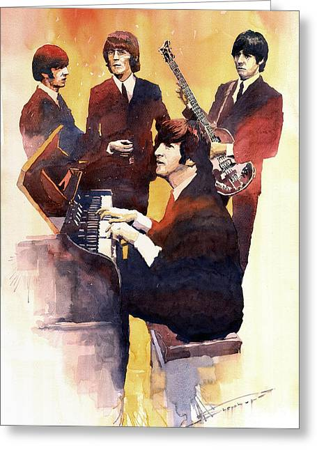 Beatles John Lennon Paul Mccartney George Harrison Ringo Starr Music Rock Icon Greeting Cards - The Beatles 01 Greeting Card by Yuriy  Shevchuk