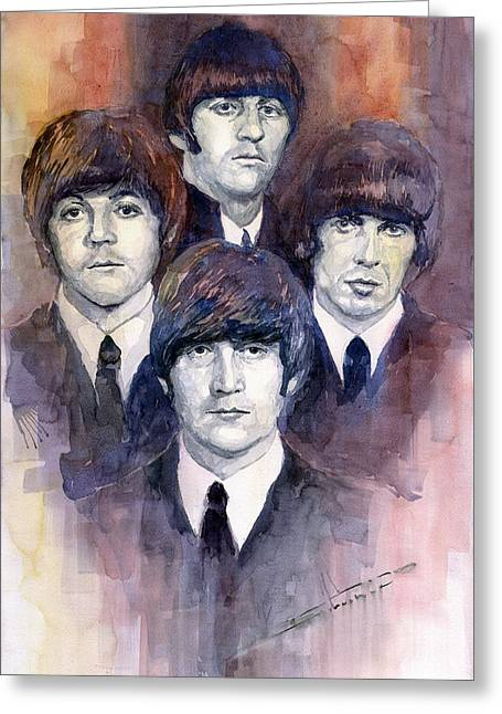 Beatles John Lennon Paul Mccartney George Harrison Ringo Starr Music Rock Icon Greeting Cards - The Beatles 02 Greeting Card by Yuriy  Shevchuk
