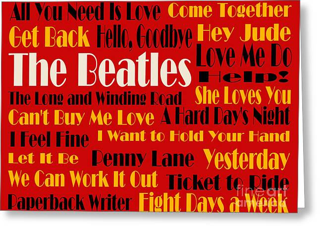 I Feel Greeting Cards - The Beatles 20 Classic Rock Songs 2 Greeting Card by Andee Design
