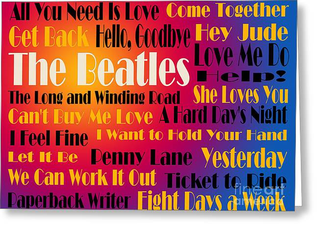 I Feel Greeting Cards - The Beatles 20 Classic Rock Songs 3 Greeting Card by Andee Design