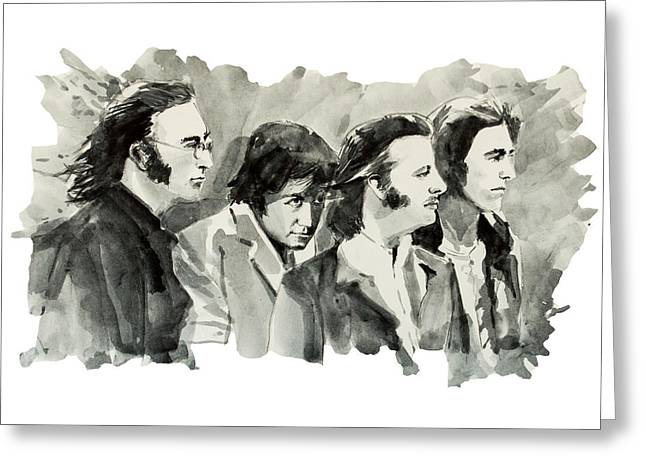 Paul Mccartney Drawings Greeting Cards - The Beatles 3 Greeting Card by MB Art factory