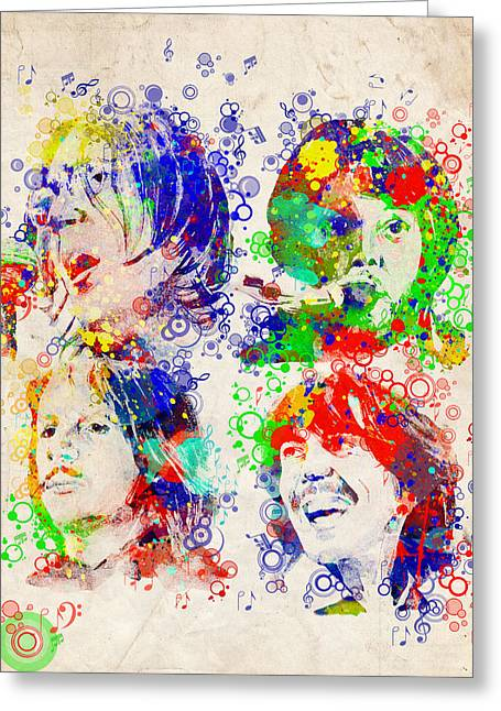 Rock N Roll Greeting Cards - The Beatles 5 Greeting Card by MB Art factory