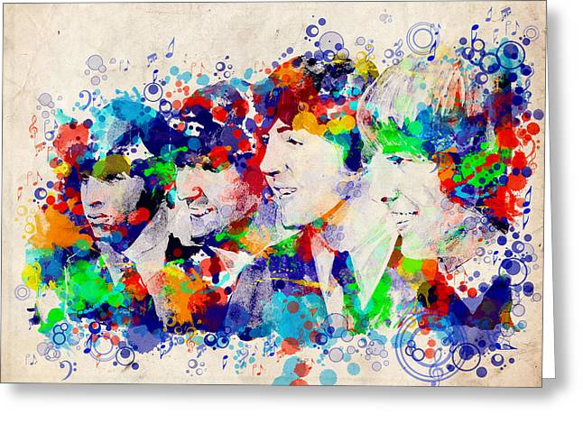 Paul Mccartney Greeting Cards - The Beatles 7 Greeting Card by MB Art factory