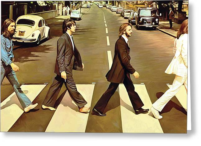 Lennon Mixed Media Greeting Cards - The Beatles Abbey Road Artwork Greeting Card by Sheraz A