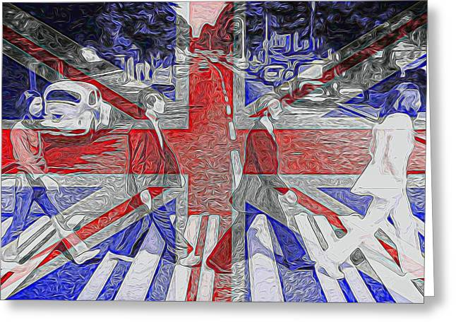 George Harrison Mixed Media Greeting Cards - The Beatles Abbey Road UK Flag Greeting Card by Dan Sproul