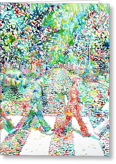 Beatles John Lennon Paul Mccartney George Harrison Ringo Starr Music Rock Icon Greeting Cards - The Beatles Abbey Road Watercolor Painting Greeting Card by Fabrizio Cassetta