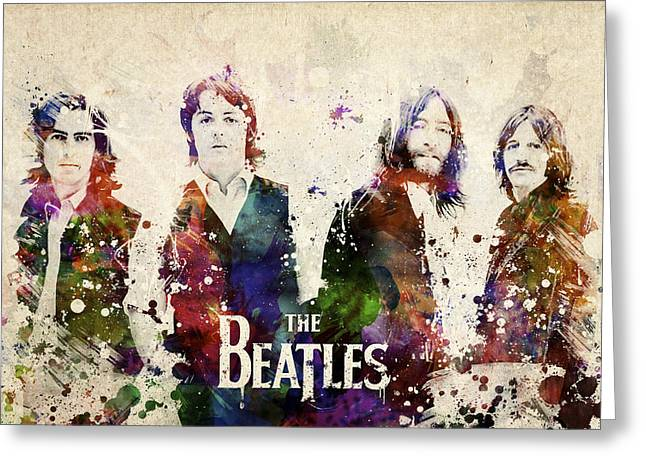 Beatles John Lennon Paul Mccartney George Harrison Ringo Starr Music Rock Icon Greeting Cards - The Beatles Greeting Card by Aged Pixel