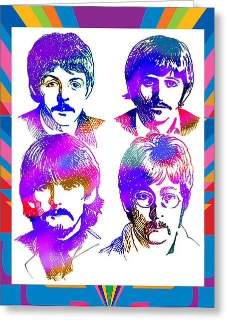 Photo-realism Mixed Media Greeting Cards - The Beatles Art Greeting Card by Robert Korhonen