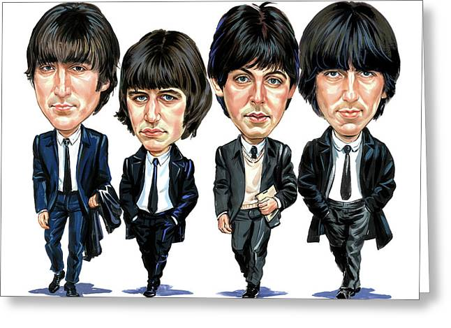Beatles John Lennon Paul Mccartney George Harrison Ringo Starr Music Rock Icon Greeting Cards - The Beatles Greeting Card by Art