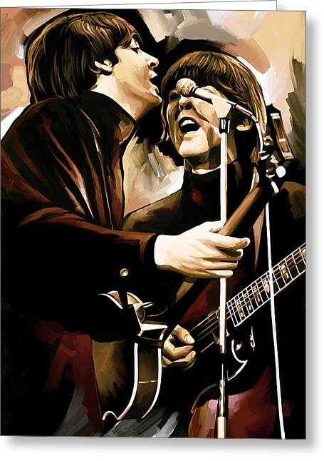 Paul Mccartney Greeting Cards - The Beatles Artwork 2 Greeting Card by Sheraz A