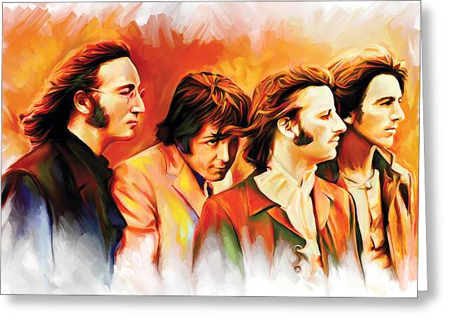 Music Greeting Cards - The Beatles Artwork Greeting Card by Sheraz A