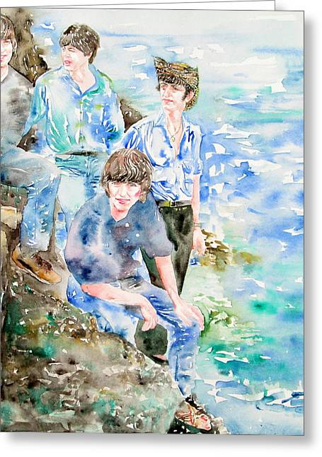 George Harrison Images Greeting Cards - THE BEATLES AT THE SEA watercolor portrait Greeting Card by Fabrizio Cassetta