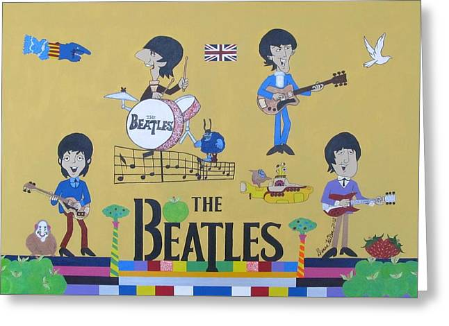 The Beatles Yellow Submarine Concert Greeting Card by Donna Wilson
