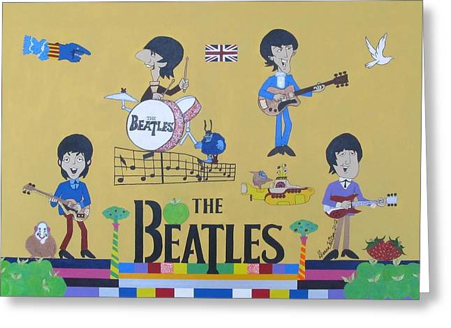 Guitar Pictures Greeting Cards - The Beatles Yellow Submarine Concert Greeting Card by Donna Wilson