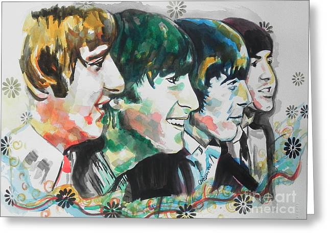 Creative People Greeting Cards - The Beatles 01 Greeting Card by Chrisann Ellis