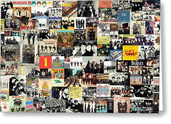 Beatles John Lennon Paul Mccartney George Harrison Ringo Starr Music Rock Icon Greeting Cards - The Beatles Collage Greeting Card by Taylan Soyturk