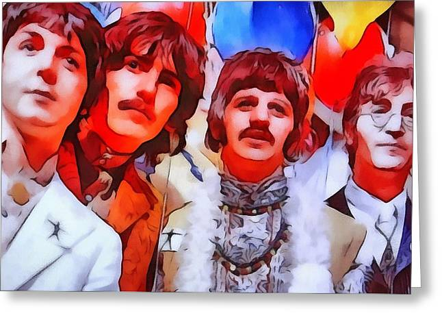 George Harrison Mixed Media Greeting Cards - The Beatles Greeting Card by Dan Sproul