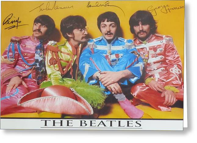 Lonely Hearts Club Band Greeting Cards - The Beatles Greeting Card by Donna Wilson