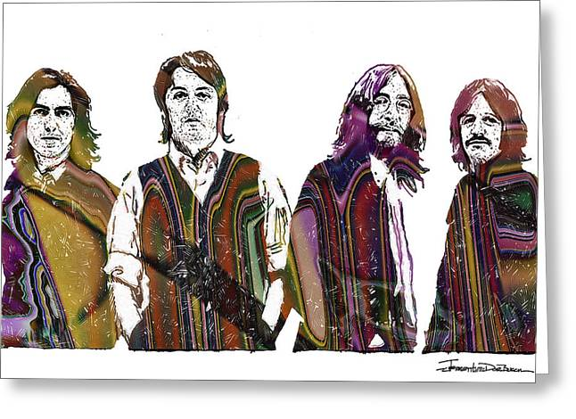 Quartet Drawings Greeting Cards - The Beatles - ICONS final cover Greeting Card by Jerrett Dornbusch