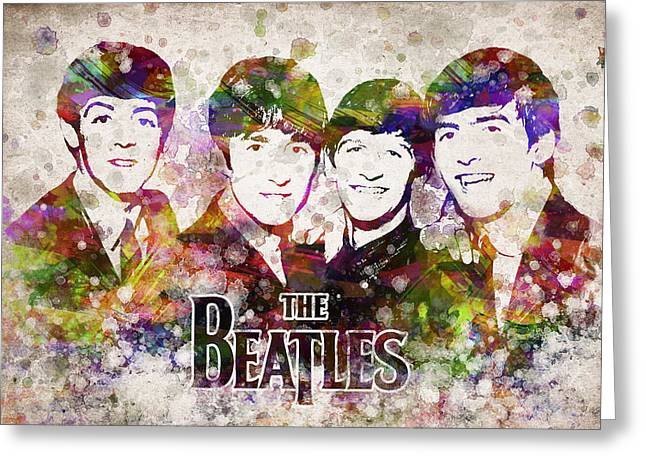 Beatles John Lennon Paul Mccartney George Harrison Ringo Starr Music Rock Icon Greeting Cards - The Beatles in Color Greeting Card by Aged Pixel